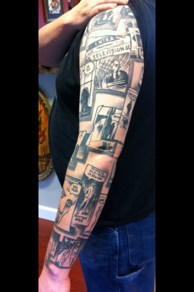 Story Sleeve Tattoo: Wally Wood's 22 Panels Tattoo Sleeve Completed